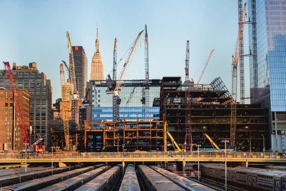 A New York skyline showing construction activity