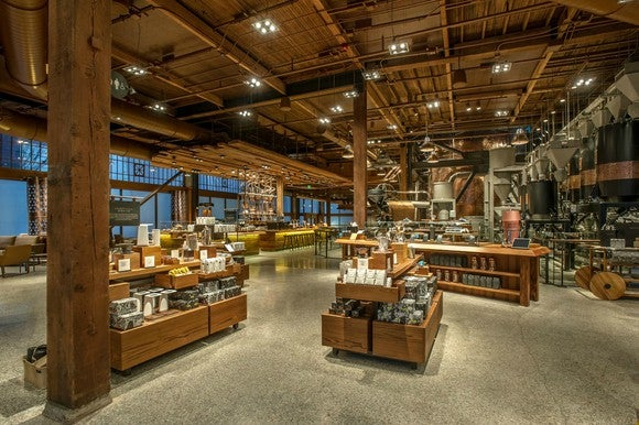An interior view of the Starbucks Roastery in Seattle.
