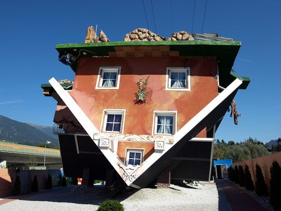An upside-down house