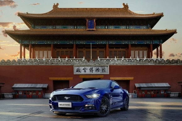 Ford's Mustang parked in front of a temple in China.