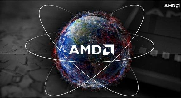 The AMD logo on top of a globe.