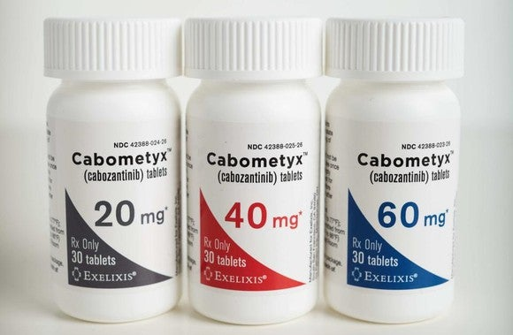 Three bottles of Cabometyx at different strengths