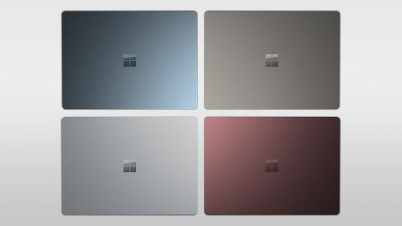 Four different colors of Surface Laptops