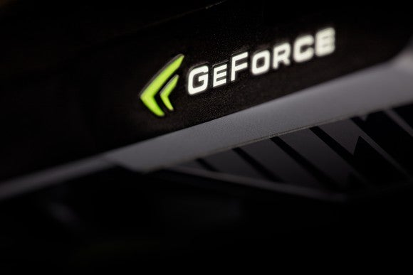 The GeForce logo on a graphics card.