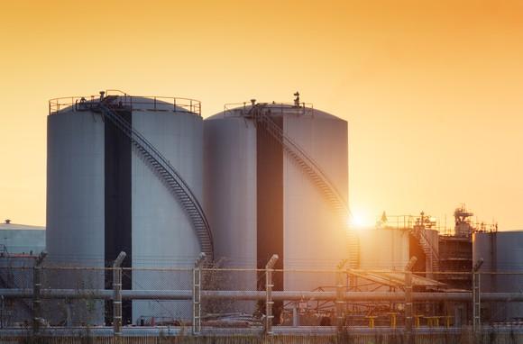 Oil tanks at sunset.