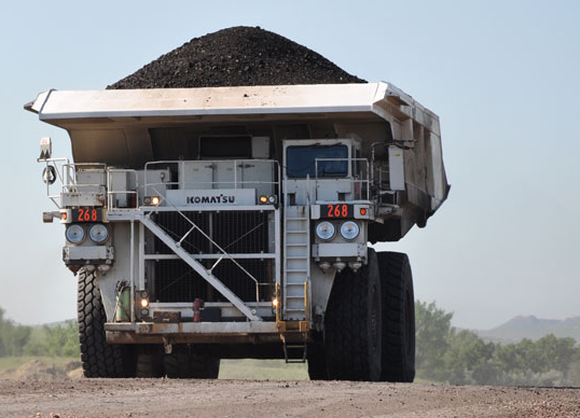 A Cloud Peak truck hauling coal.
