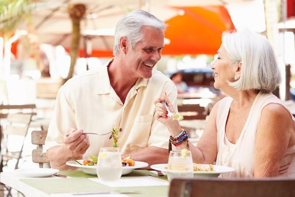 Seniors dining at a restaurant