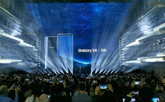 Samsung's Galaxy S8 is seen on stage at its introduction.