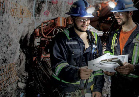 Agnico Eagle Mines employees in a mine.