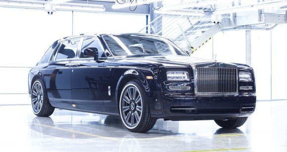 A black Rolls-Royce Phantom at the company's factory.