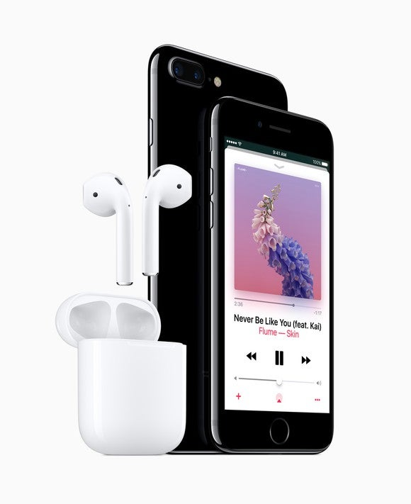 The iPhone 7 and a set of AirPods