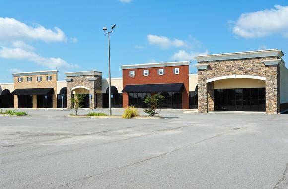 An empty mall parking lot.