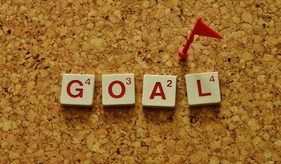 """The word """"goal"""" written with Scrabble tiles"""