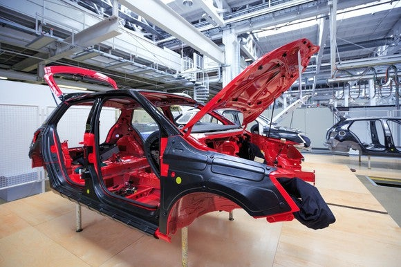 A car in production.