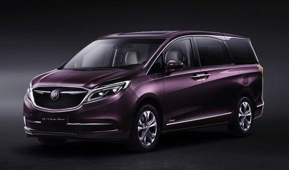 The Buick GL8, a minivan, in the purple color exclusive to the top-tier Avenir trim line.