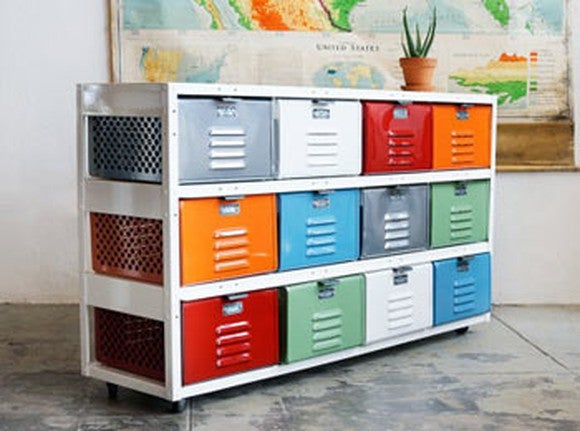 A handmade dresser made of old multi-colored school lockers.