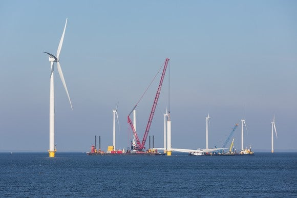 Construction site of an offshore wind farm.