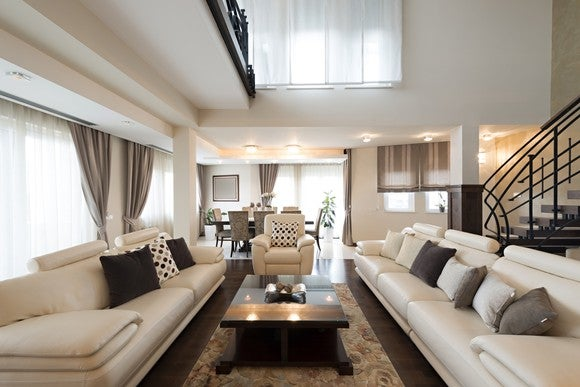 Modern furniture in apartment setting.