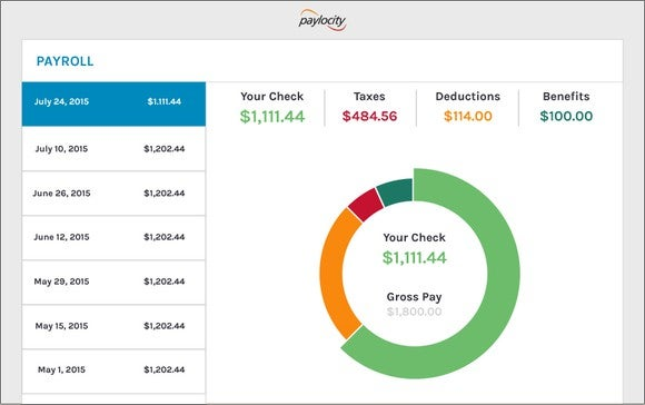 Image of Paylocity payroll interface