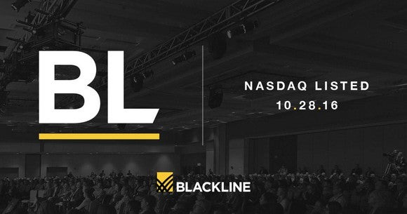 The Blackline logo, ticker, and date of Nasdaq listing are superimposed over a picture of people sitting in an auditorium.