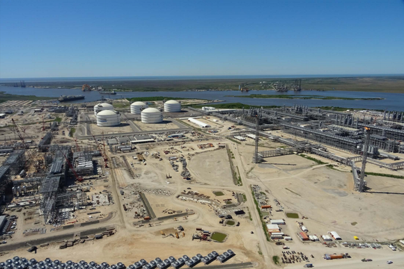 Construction at Cheniere Energy's Sabine Pass LNG export terminal.
