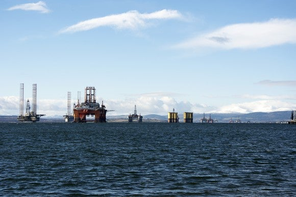 Offshore rig fleet in port.