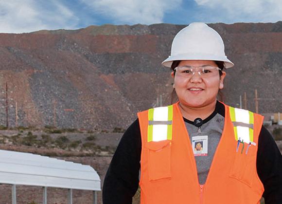 A female Freeport-McMoRan employee at work