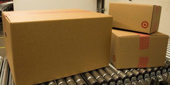 Boxes roll on a conveyor belt at a Target shipping facility.