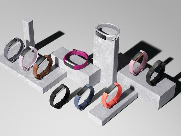 An assortment of Fitbit Alta HR bands on display.
