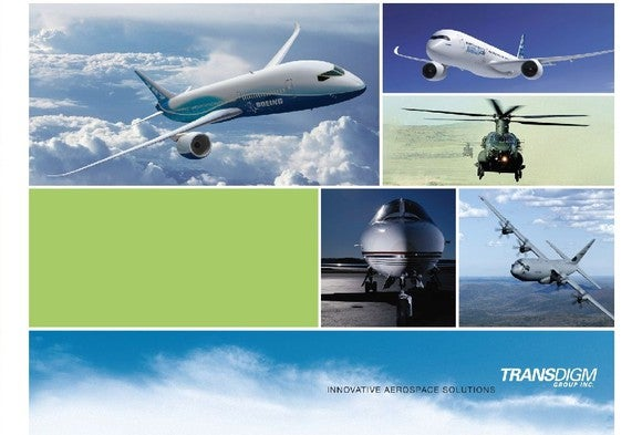 TransDigm annual report cover with business segments.