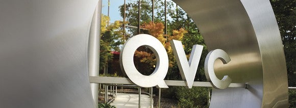 QVC logo as a sign at the company's Orlando headquarters.