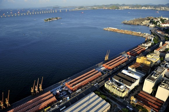 Aerial view of Port of Rio de Janeiro, Brazil.