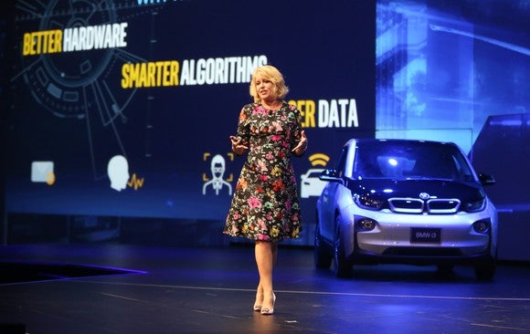 Intel executive Diane Bryant at an autonomous driving event.