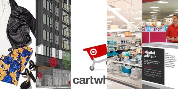 A panel of five images: a Target exclusive women's outfit, the outside view of a new urban Target store, a cartoon red shopping cart which is the logo for the online Cartwheel store, merchandise displayed inside of a store, and an employee behind a desk.