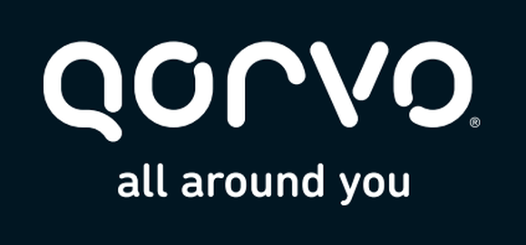 "The Qorvo logo, with the tagline ""all around you."""