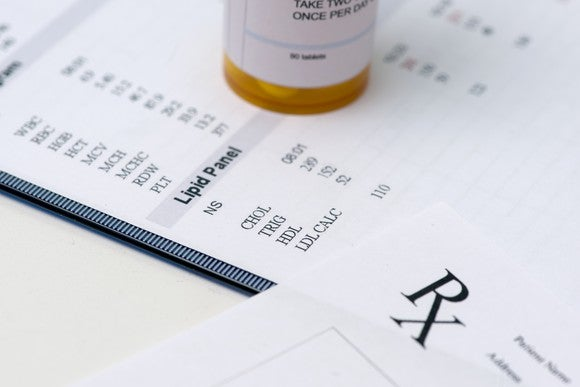 Prescription medicine bottle sitting on lab results