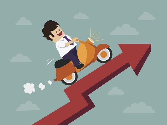 Man riding a scooter up a stock chart.