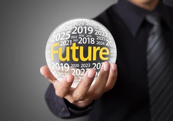 "A man holds a crystal ball, on which are printed various years and the word ""future."""