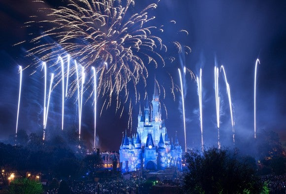 Fireworks display at Disney theme park.
