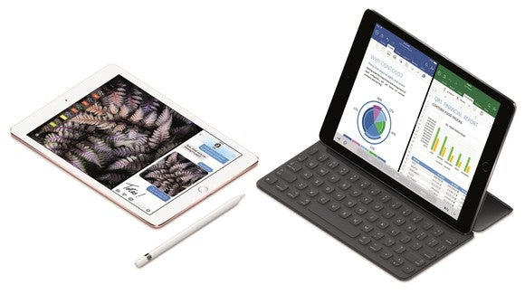 Apple's iPad with and without keyboard.