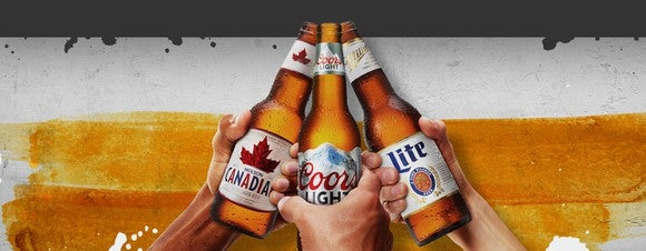Three of Molson Coors' brands -- Molson Canadian Lager, Coors Light, and Miller Lite.
