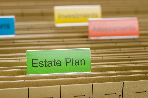 """Folders in a filing cabinet, with front folder labeled """"estate plan."""""""