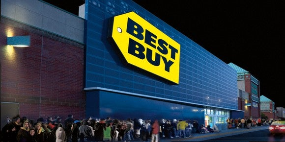 Shoppers lined up at a Best Buy store on Black Friday.
