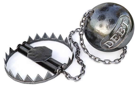 "A bear trap with a ball attached that bears the word ""debt."""
