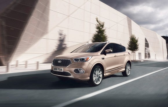 Ford's 2016 Kuga Vignale driving in Europe.