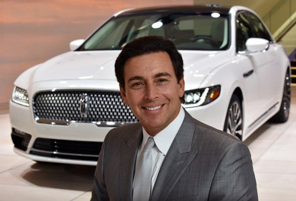Mark Fields with the 2017 Lincoln Continental.