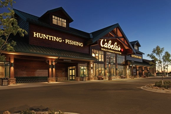 A Cabela's store at night