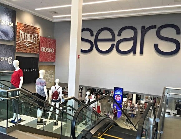 Escalators leading to lower level at Sears