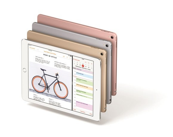 Apple's 9.7-inch iPad Pro in four colors.