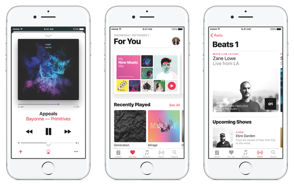 Three iPhone images showing the Apple Music app.